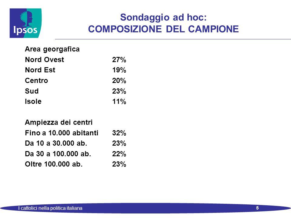 5 I cattolici nella politica italiana Sondaggio ad hoc: COMPOSIZIONE DEL CAMPIONE Area georgafica Nord Ovest27% Nord Est19% Centro20% Sud23% Isole11% Ampiezza dei centri Fino a 10.000 abitanti32% Da 10 a 30.000 ab.23% Da 30 a 100.000 ab.22% Oltre 100.000 ab.23%