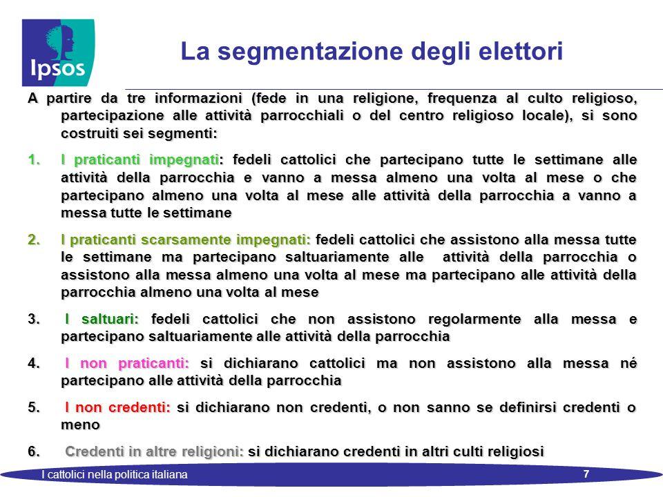 7 I cattolici nella politica italiana La segmentazione degli elettori A partire da tre informazioni (fede in una religione, frequenza al culto religio