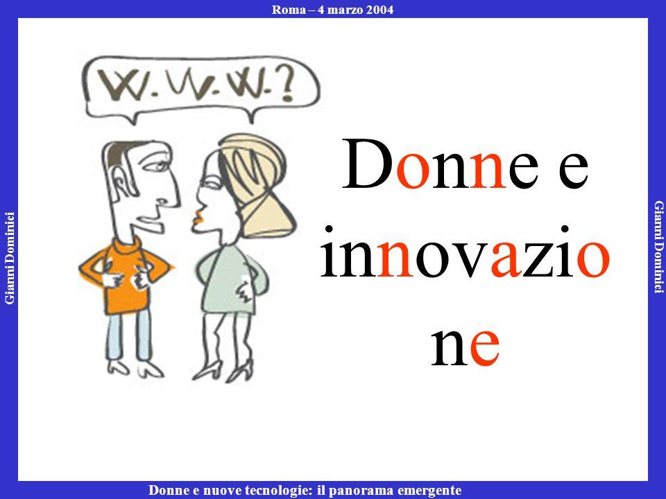 Gianni Dominici Roma – 4 marzo 2004 Donne e nuove tecnologie: il panorama emergente Donne e innovazio ne