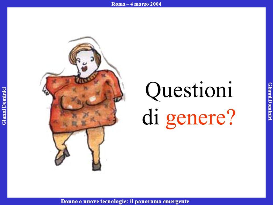 Gianni Dominici Roma – 4 marzo 2004 Donne e nuove tecnologie: il panorama emergente Questioni di genere