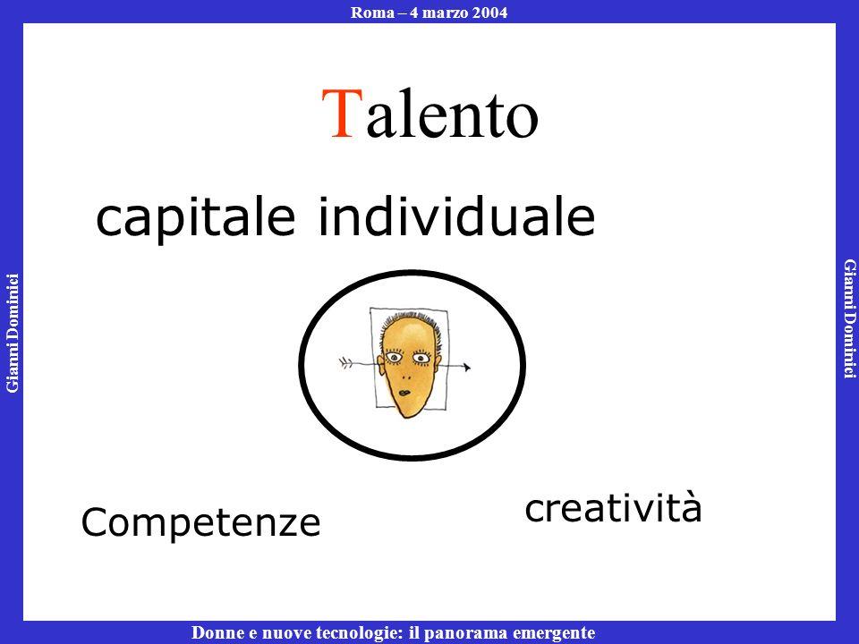 Gianni Dominici Roma – 4 marzo 2004 Donne e nuove tecnologie: il panorama emergente Talento capitale individuale Competenze creatività