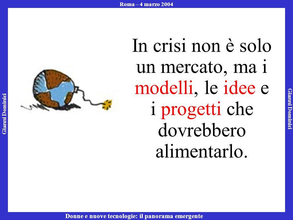 Gianni Dominici Roma – 4 marzo 2004 Donne e nuove tecnologie: il panorama emergente In crisi non è solo un mercato, ma i modelli, le idee e i progetti che dovrebbero alimentarlo.