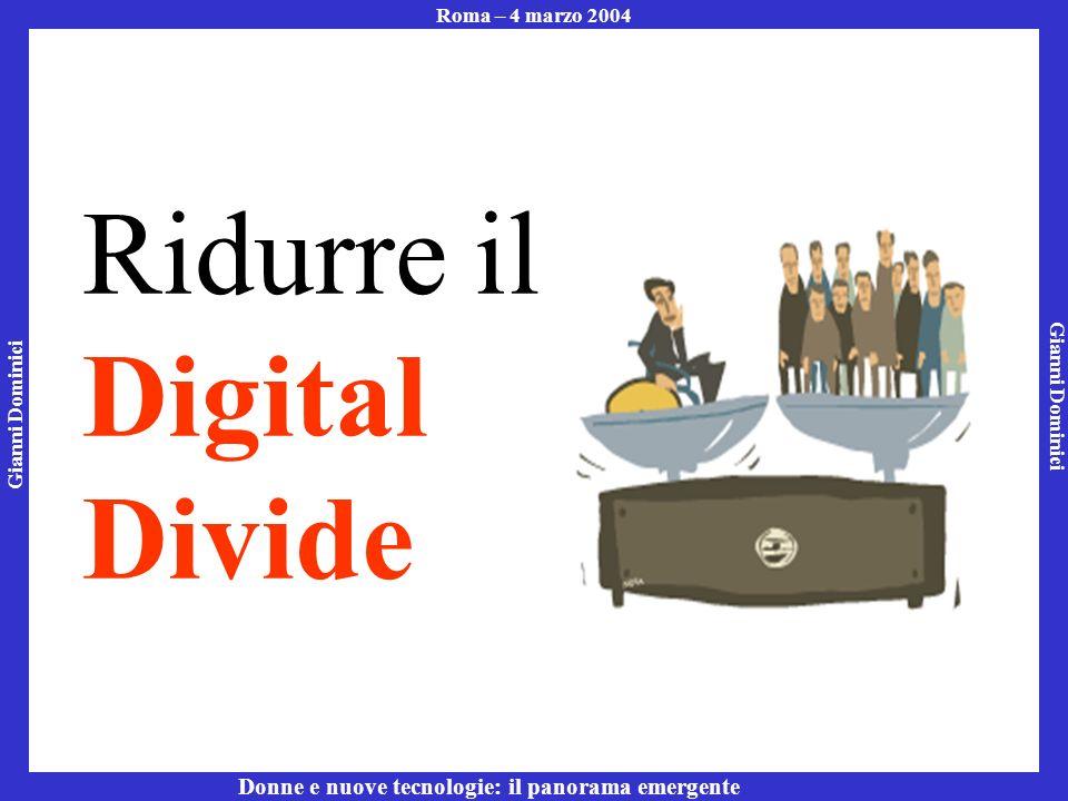 Gianni Dominici Roma – 4 marzo 2004 Donne e nuove tecnologie: il panorama emergente Ridurre il Digital Divide