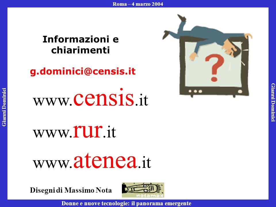 Gianni Dominici Roma – 4 marzo 2004 Donne e nuove tecnologie: il panorama emergente Informazioni e chiarimenti g.dominici@censis.it www.