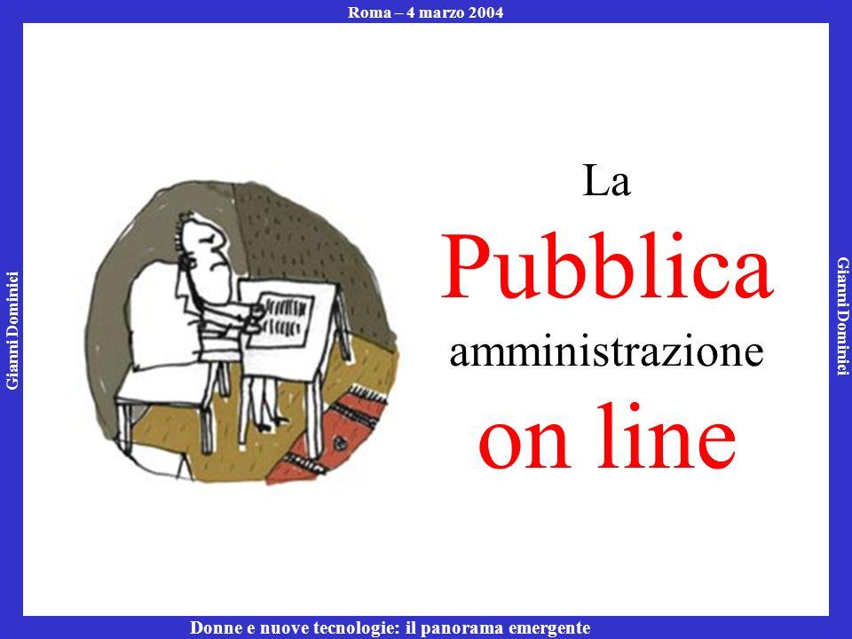 Gianni Dominici Roma – 4 marzo 2004 Donne e nuove tecnologie: il panorama emergente La Pubblica amministrazione on line