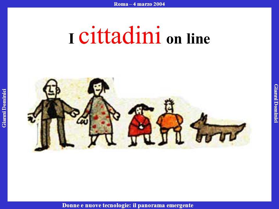 Gianni Dominici Roma – 4 marzo 2004 Donne e nuove tecnologie: il panorama emergente I cittadini on line