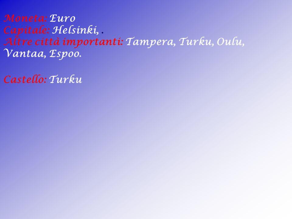 Superficie: 337.030km² Abitanti: 5210000. Densità : 15 ab /km² Lingua: Finnico e Svedese. Religione: Protestante. Forma di Governo:Repubblica Parlamen