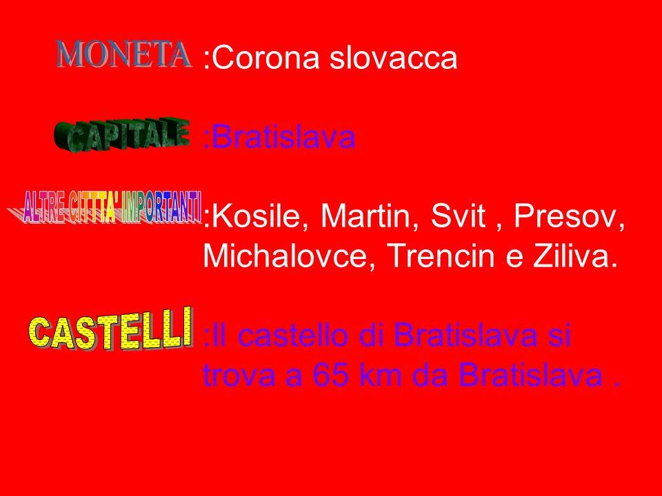 :49.035 km quadrati :110 abitanti al km quadrato :Slovacco (ufficiale) :Cattolica :Repubblica parlamentare :Uguale a quello italiano :220V :DallItalia