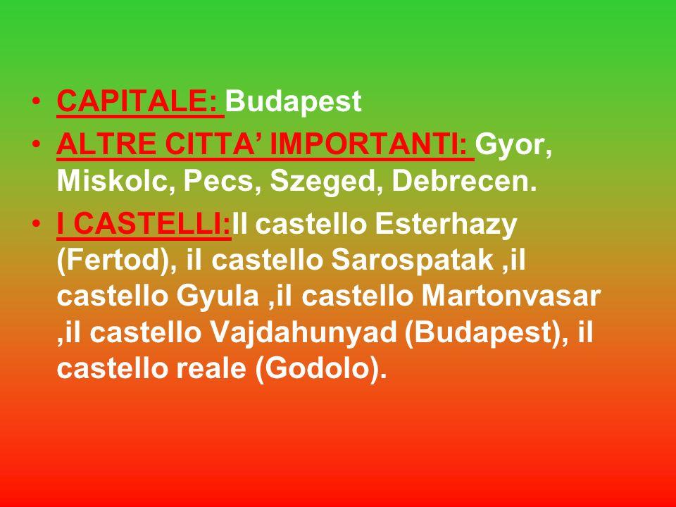 SUPERFICIE: 93.030 km2 ABITANTI: 9.880.000 DENSITà : 109 abitanti per Km quadrati. LINGUA: Ungherese RELIGIONE: Cattolica FORMA DI GOVERNO: Repubblica