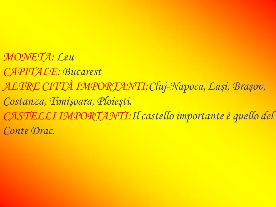 SUPERFICIE:238000 km² ABITANTI:21,8 milioni DENSITÀ:94 ab/km² LINGUA:Romeno RELIGIONE:Ortodossa FORMA DI GOVERNO:Repubblica presidenziale FUSO ORARIO