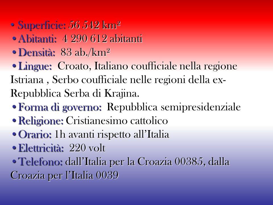 La bandiera della Croazia consiste di tre bande orizzontali di uguale dimensione, nei colori panslavi rosso, bianco e blu che compaiono, disposti in d