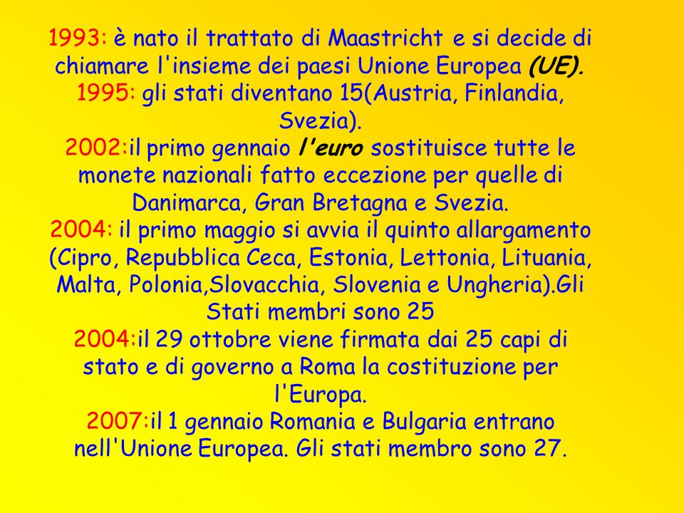 1993: è nato il trattato di Maastricht e si decide di chiamare l insieme dei paesi Unione Europea (UE).