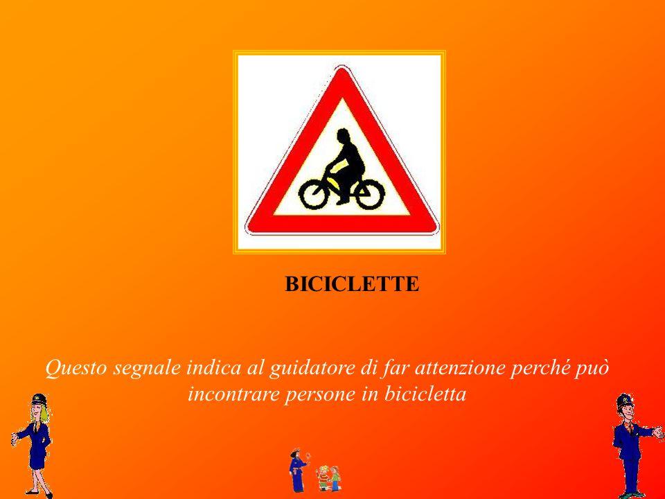 Questo segnale indica al guidatore di far attenzione perché può incontrare persone in bicicletta BICICLETTE