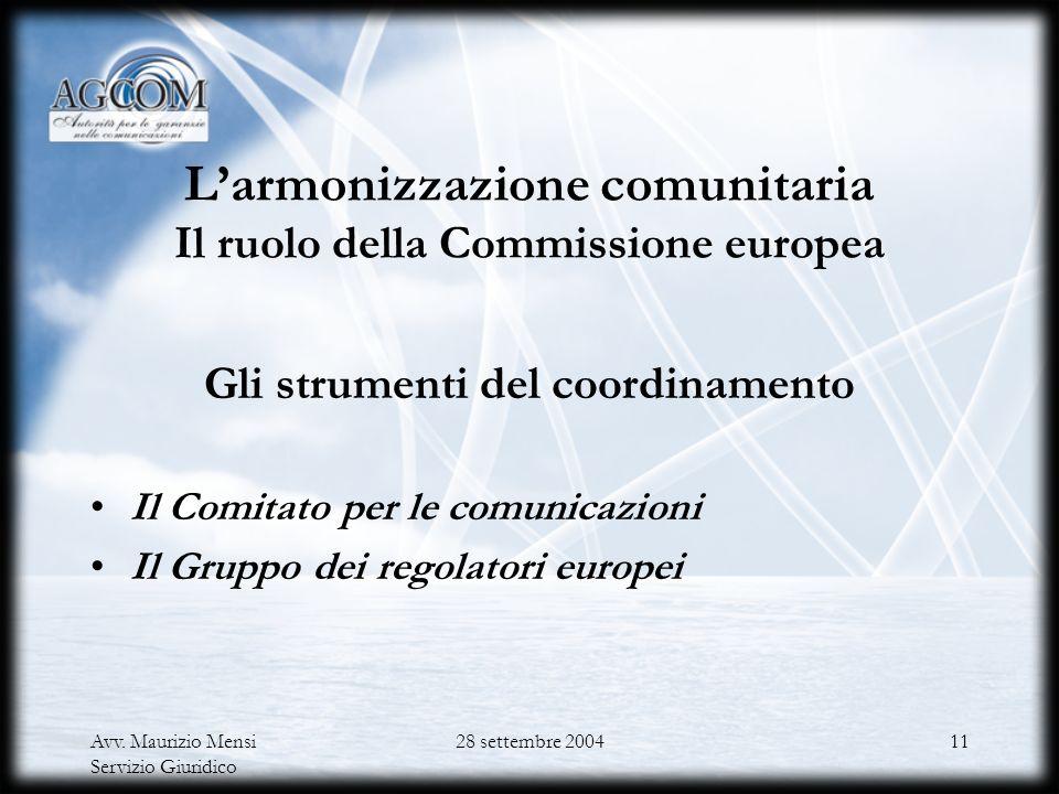 Avv. Maurizio Mensi Servizio Giuridico 28 settembre 200410 Responsabilità delle ANR Accesso ai documenti e obbligo di motivazione (artt. 5 e 7.1 dQ) D