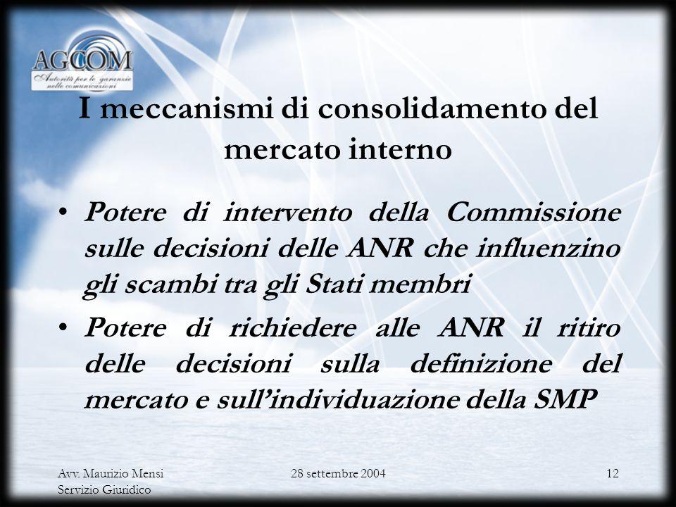 Avv. Maurizio Mensi Servizio Giuridico 28 settembre 200411 Larmonizzazione comunitaria Il ruolo della Commissione europea Gli strumenti del coordiname