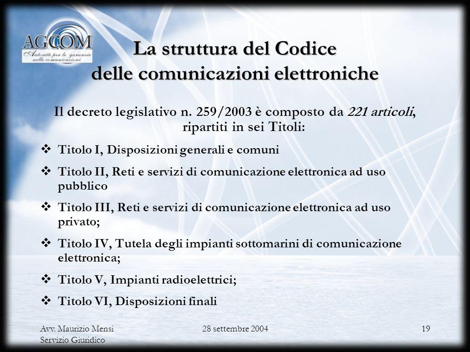 Avv. Maurizio Mensi Servizio Giuridico 28 settembre 200418 Il parere reso dallAutorità al Ministero il 16 maggio 2003 Il ruolo e le competenze dellAut