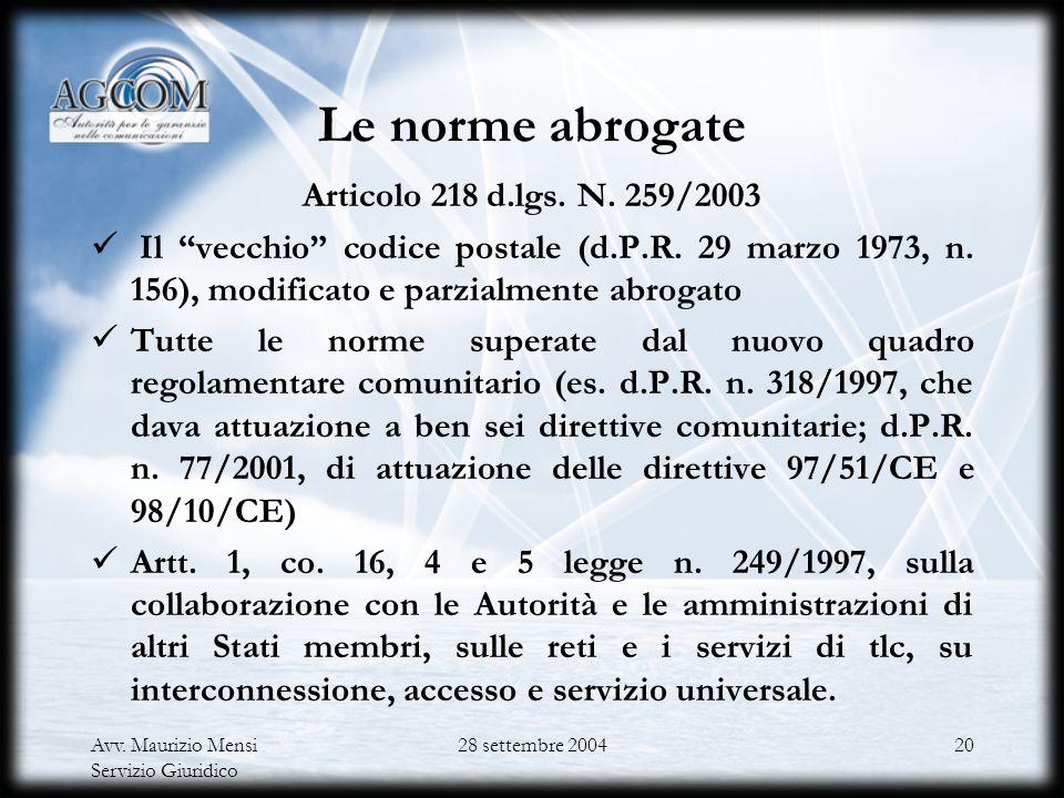 Avv. Maurizio Mensi Servizio Giuridico 28 settembre 200419 La struttura del Codice delle comunicazioni elettroniche Il decreto legislativo n. 259/2003