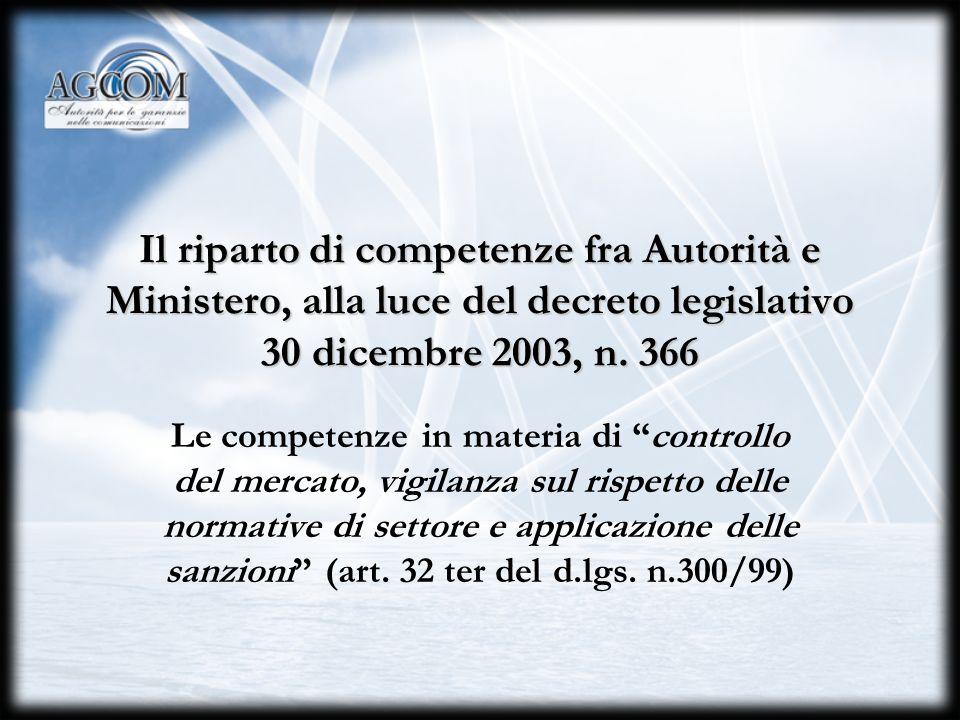 I rapporti con il Ministero delle comunicazioni Il riparto di competenze ai sensi del Codice delle comunicazioni elettroniche e gli accordi di collabo