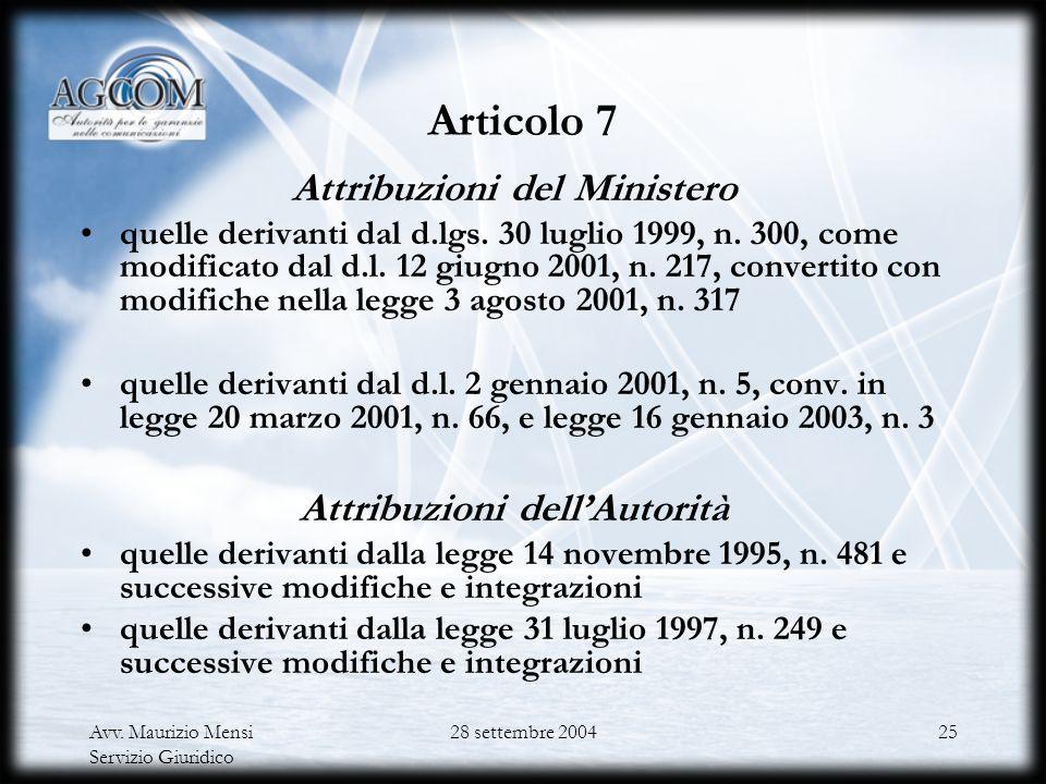 Avv. Maurizio Mensi Servizio Giuridico 28 settembre 200424 Le funzioni del Ministero e dellAutorità Articolo 1 d.lgs. n. 259/2003 LAgcom è definita AN