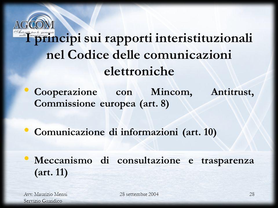 Avv. Maurizio Mensi Servizio Giuridico 28 settembre 200427 Il cd. Trading delle frequenze (Art. 14, Gestione delle radiofrequenze per i servizi di com