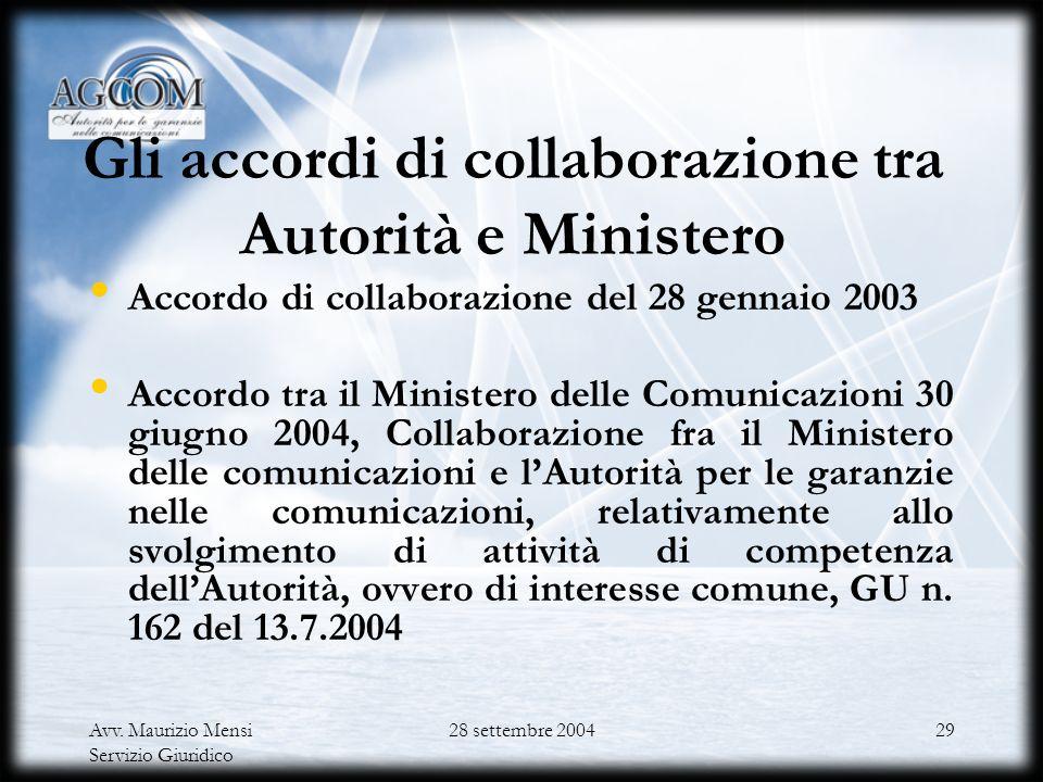 Avv. Maurizio Mensi Servizio Giuridico 28 settembre 200428 I principi sui rapporti interistituzionali nel Codice delle comunicazioni elettroniche Coop