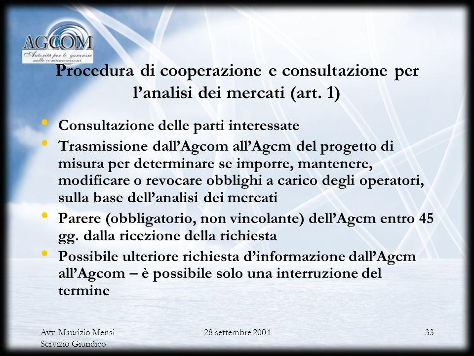 Avv. Maurizio Mensi Servizio Giuridico 28 settembre 200432 Struttura dellaccordo di collaborazione del 28 gennaio 2004 Cooperazione e procedura di con