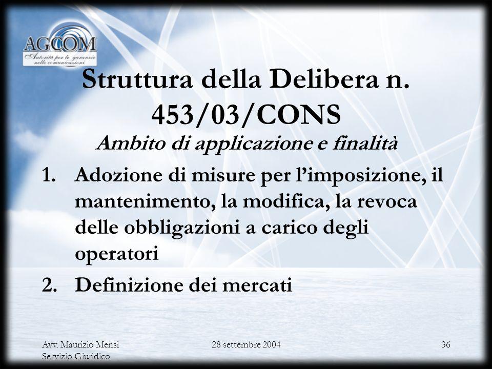 Avv. Maurizio Mensi Servizio Giuridico 28 settembre 200435 Delibera n. 453/03/CONS sulla consultazione pubblica Art. 6 dQ Art. 11 del decreto legislat