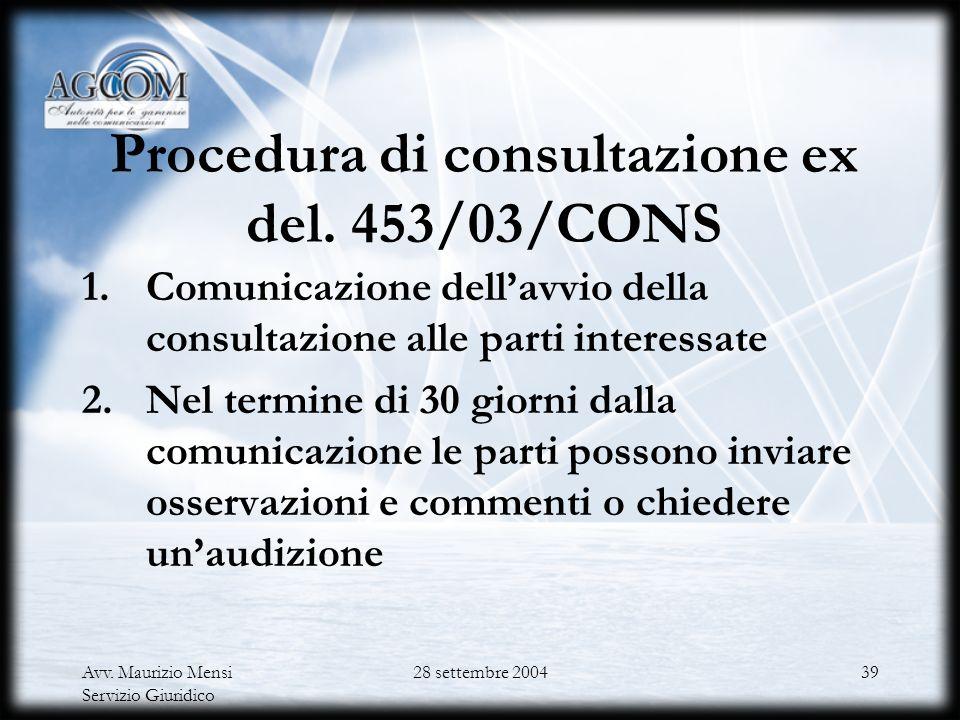 Avv. Maurizio Mensi Servizio Giuridico 28 settembre 200438 Documenti che devono essere pubblicati nellambito della procedura di consultazione ex del.