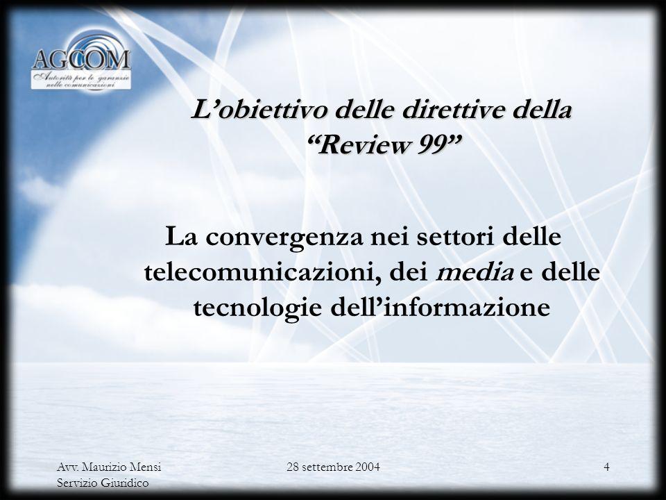 Avv. Maurizio Mensi Servizio Giuridico 28 settembre 20043 Il nuovo quadro comunitario di riferimento I testi adottati Quattro direttive ( Quadro, Auto