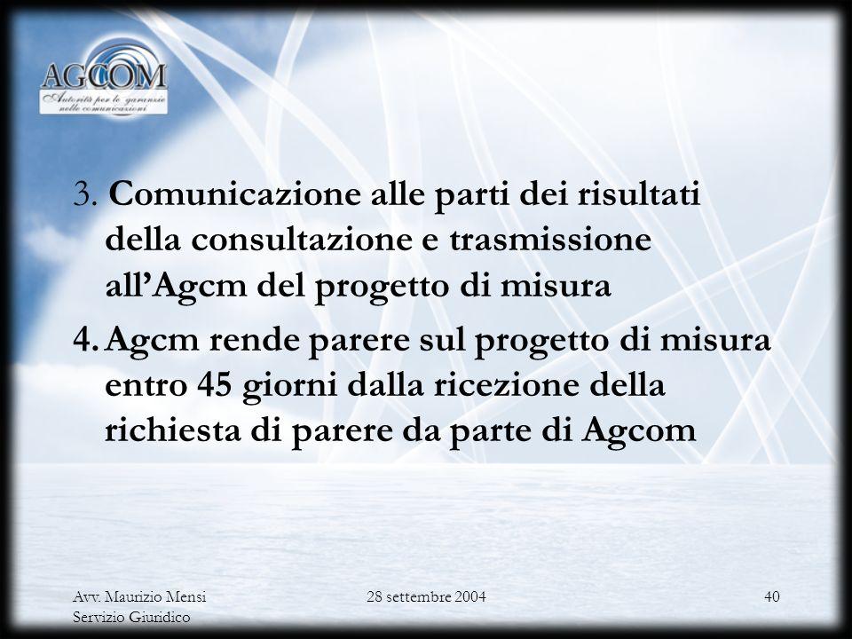 Avv. Maurizio Mensi Servizio Giuridico 28 settembre 200439 Procedura di consultazione ex del. 453/03/CONS 1.Comunicazione dellavvio della consultazion