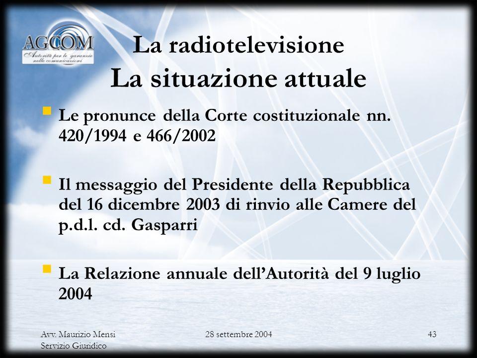 Avv. Maurizio Mensi Servizio Giuridico 28 settembre 200442 Verso la convergenza degli obiettivi e degli strumenti di tutela Il Codice delle comunicazi