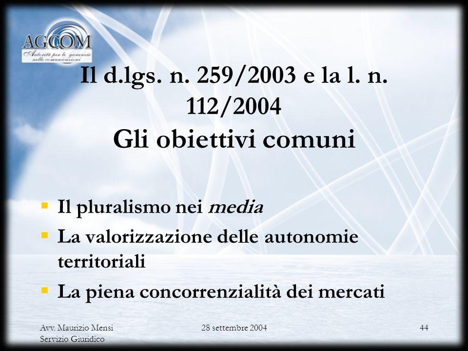 Avv. Maurizio Mensi Servizio Giuridico 28 settembre 200443 La radiotelevisione La situazione attuale Le pronunce della Corte costituzionale nn. 420/19