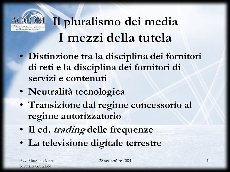 Avv. Maurizio Mensi Servizio Giuridico 28 settembre 200444 Il d.lgs. n. 259/2003 e la l. n. 112/2004 Gli obiettivi comuni Il pluralismo nei media La v