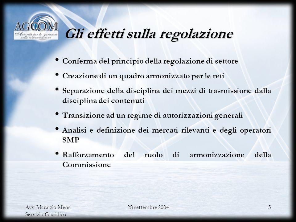 Avv. Maurizio Mensi Servizio Giuridico 28 settembre 20044 Lobiettivo delle direttive della Review 99 La convergenza nei settori delle telecomunicazion