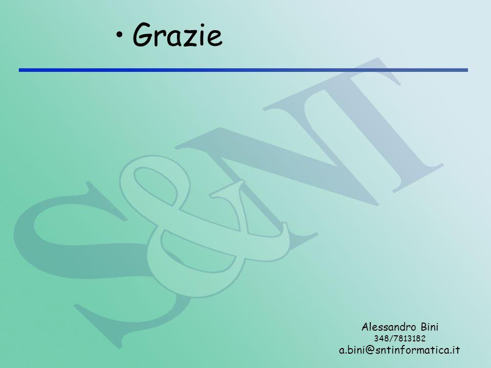 Grazie Alessandro Bini 348/7813182 a.bini@sntinformatica.it