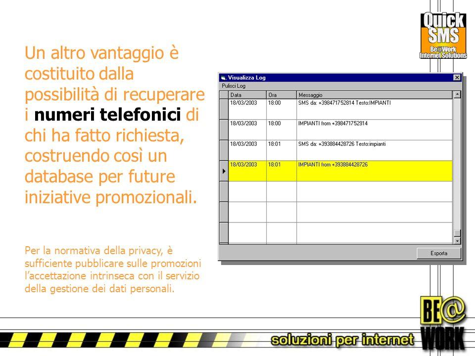 Un altro vantaggio è costituito dalla possibilità di recuperare i numeri telefonici di chi ha fatto richiesta, costruendo così un database per future iniziative promozionali.