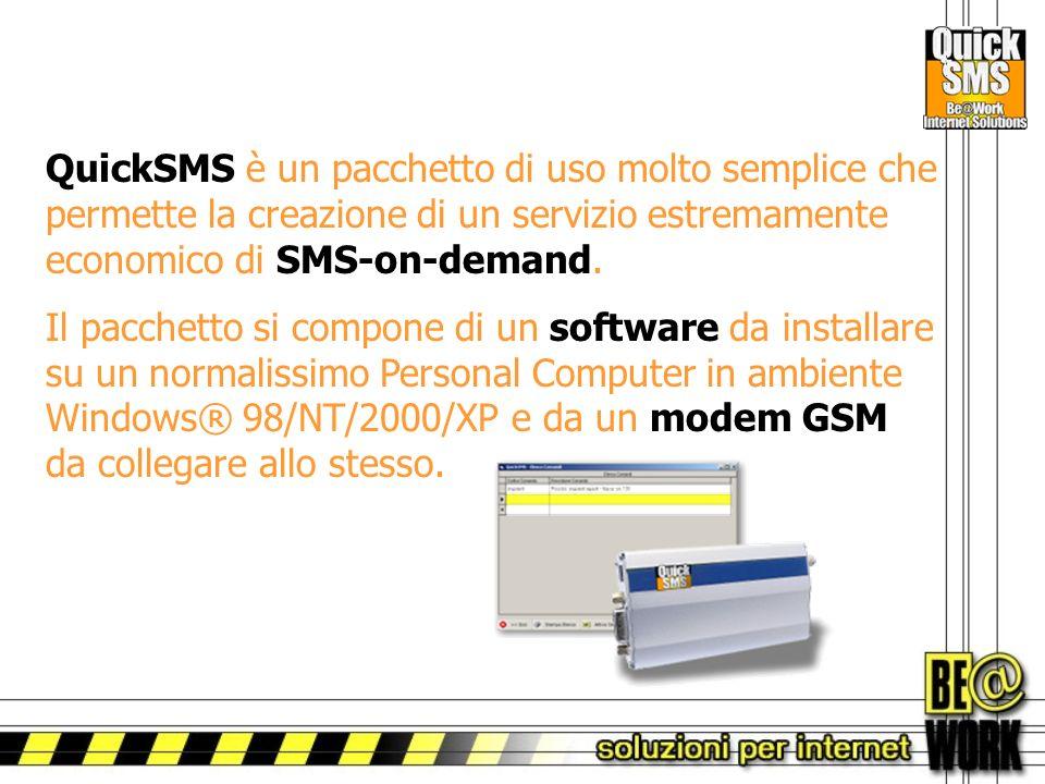 QuickSMS è un pacchetto di uso molto semplice che permette la creazione di un servizio estremamente economico di SMS-on-demand.