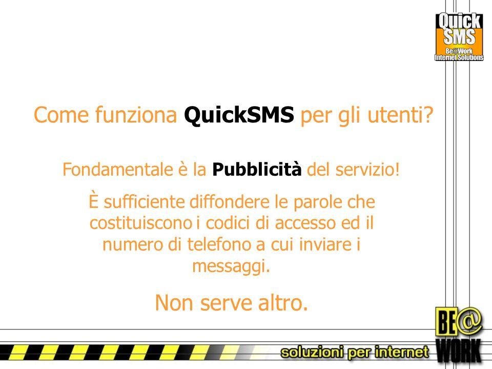Come funziona QuickSMS per gli utenti. Fondamentale è la Pubblicità del servizio.