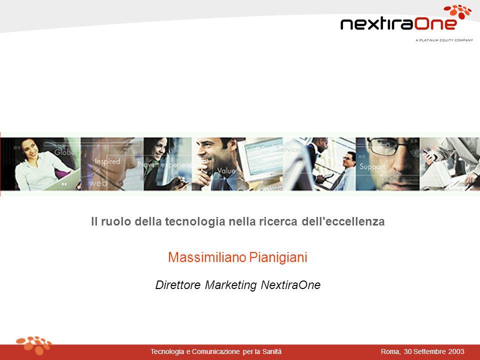 Roma, 30 Settembre 2003Tecnologia e Comunicazione per la Sanità Il ruolo della tecnologia nella ricerca dell'eccellenza Massimiliano Pianigiani Dirett