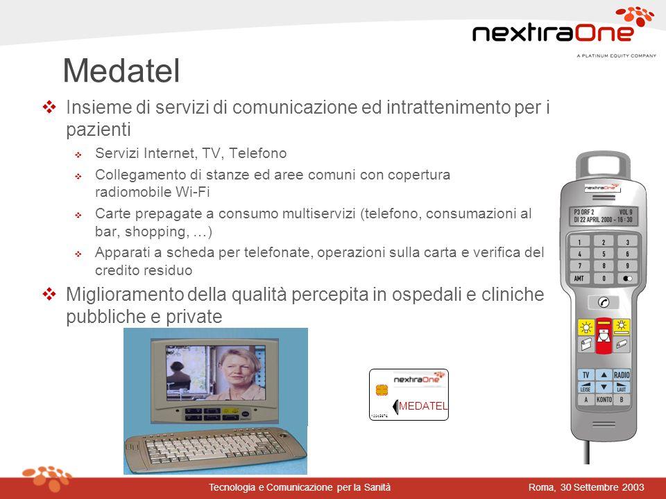 Roma, 30 Settembre 2003Tecnologia e Comunicazione per la Sanità Medatel vInsieme di servizi di comunicazione ed intrattenimento per i pazienti v Servi