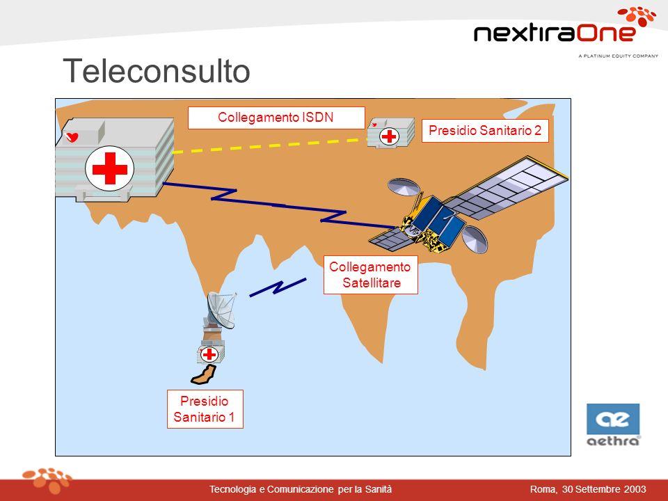 Roma, 30 Settembre 2003Tecnologia e Comunicazione per la Sanità Teleconsulto Presidio Sanitario 1 Collegamento Satellitare Collegamento ISDN Presidio