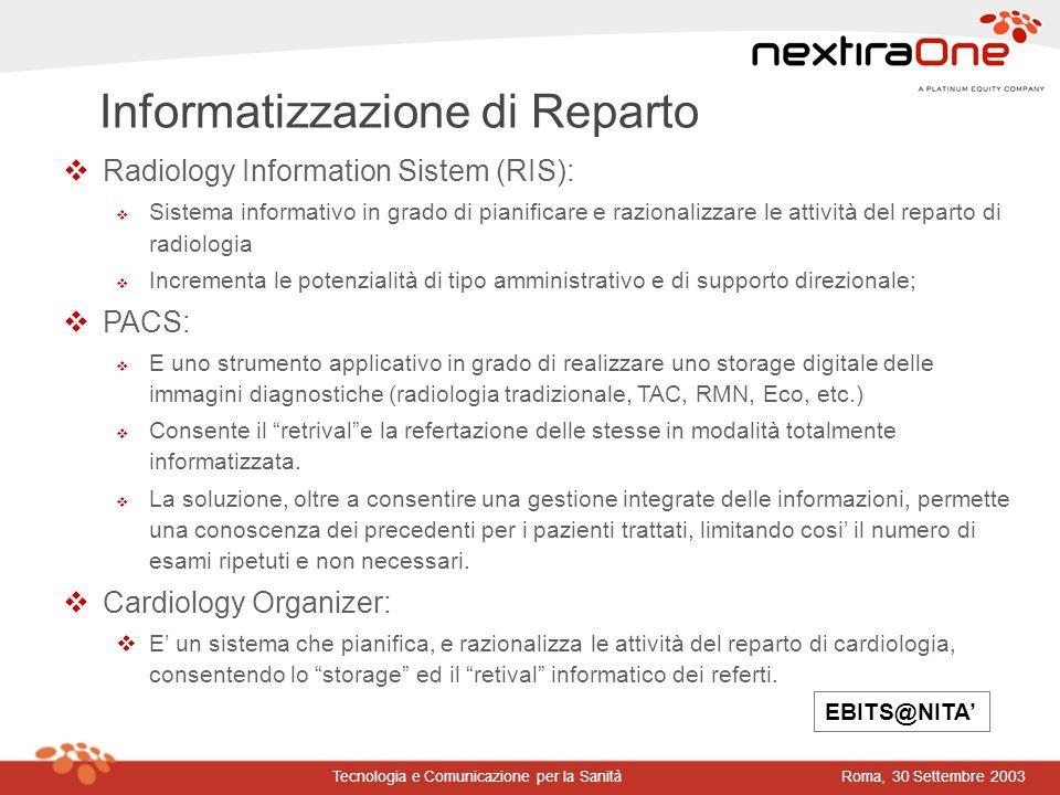 Roma, 30 Settembre 2003Tecnologia e Comunicazione per la Sanità vRadiology Information Sistem (RIS): v Sistema informativo in grado di pianificare e r