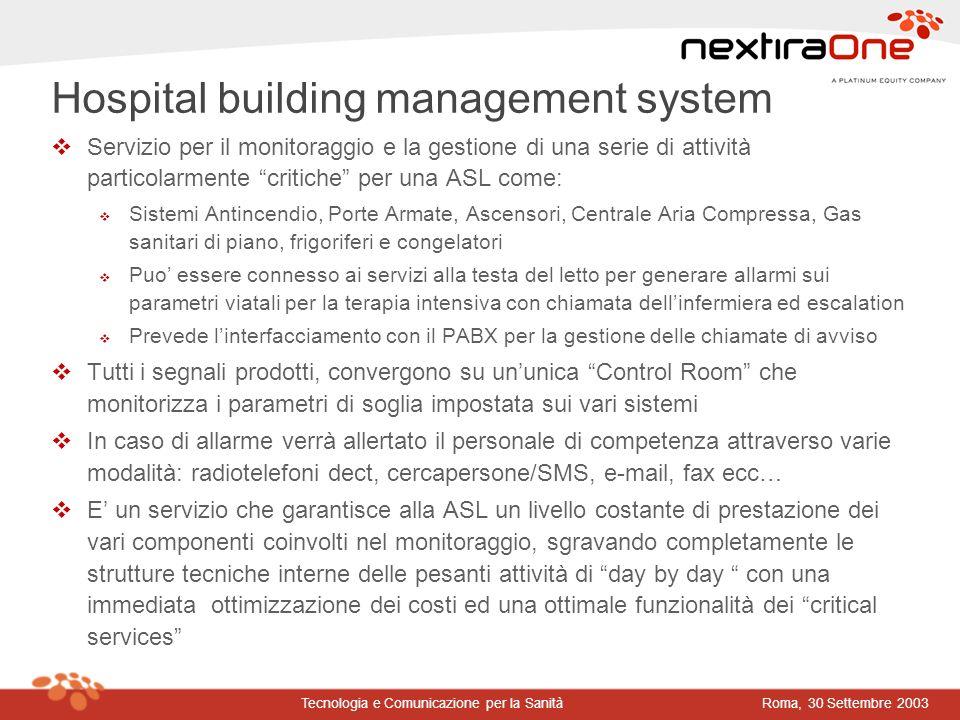 Roma, 30 Settembre 2003Tecnologia e Comunicazione per la Sanità vServizio per il monitoraggio e la gestione di una serie di attività particolarmente c