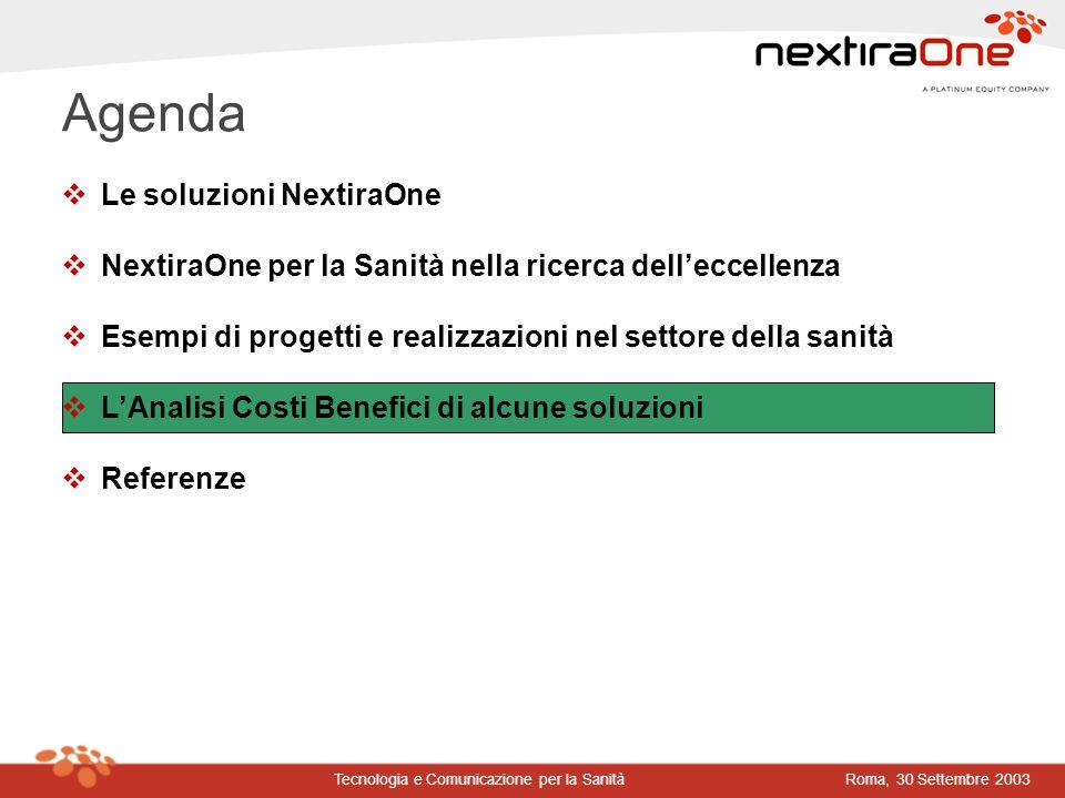 Roma, 30 Settembre 2003Tecnologia e Comunicazione per la Sanità Agenda vLe soluzioni NextiraOne vNextiraOne per la Sanità nella ricerca delleccellenza