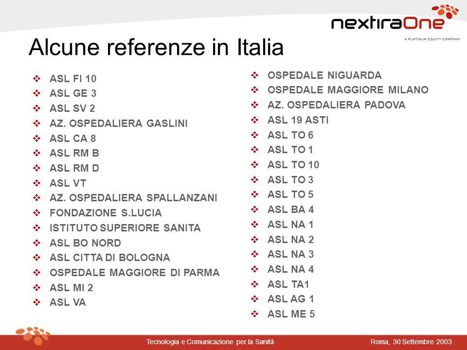 Roma, 30 Settembre 2003Tecnologia e Comunicazione per la Sanità v ASL FI 10 v ASL GE 3 v ASL SV 2 v AZ. OSPEDALIERA GASLINI v ASL CA 8 v ASL RM B v AS