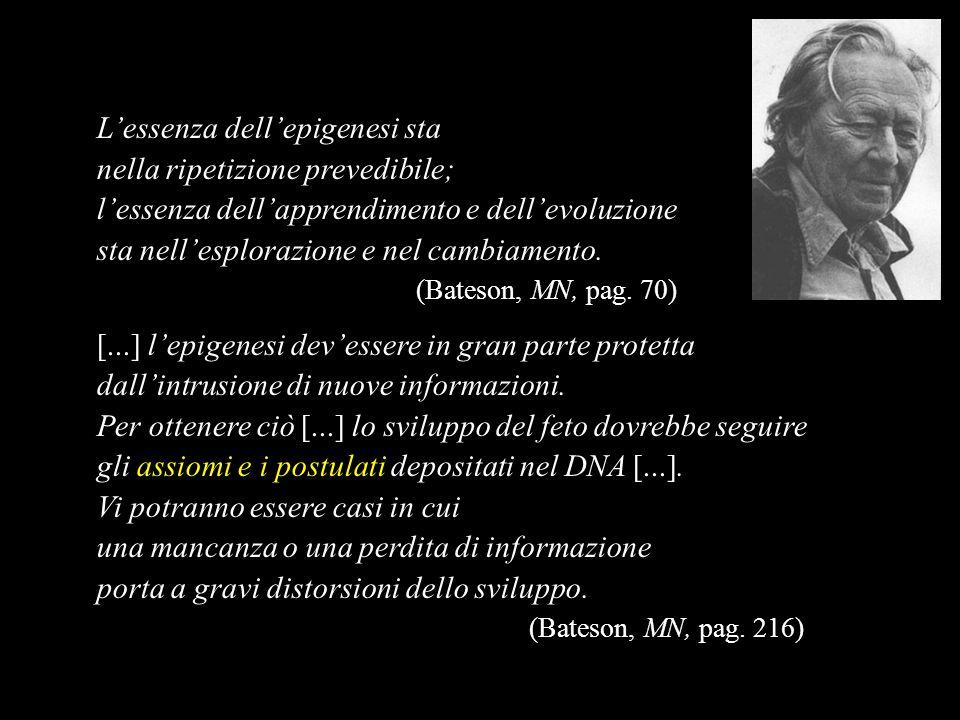 Lessenza dellepigenesi sta nella ripetizione prevedibile; lessenza dellapprendimento e dellevoluzione sta nellesplorazione e nel cambiamento. (Bateson