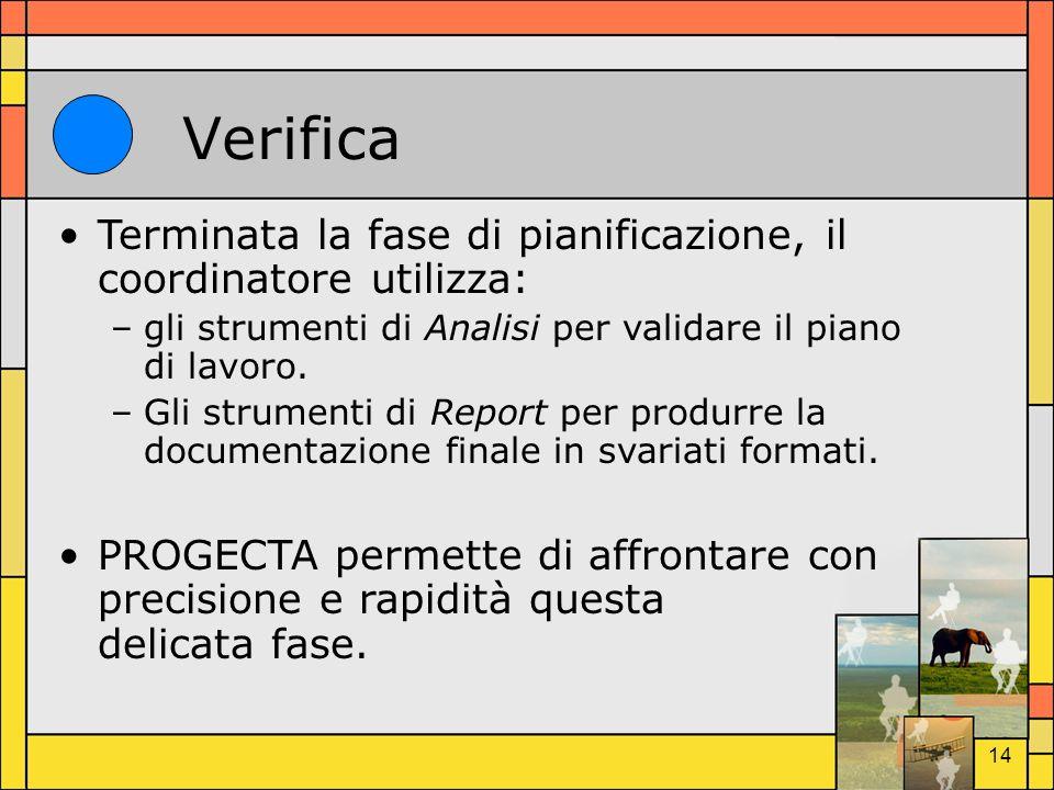 14 Verifica Terminata la fase di pianificazione, il coordinatore utilizza: –gli strumenti di Analisi per validare il piano di lavoro. –Gli strumenti d