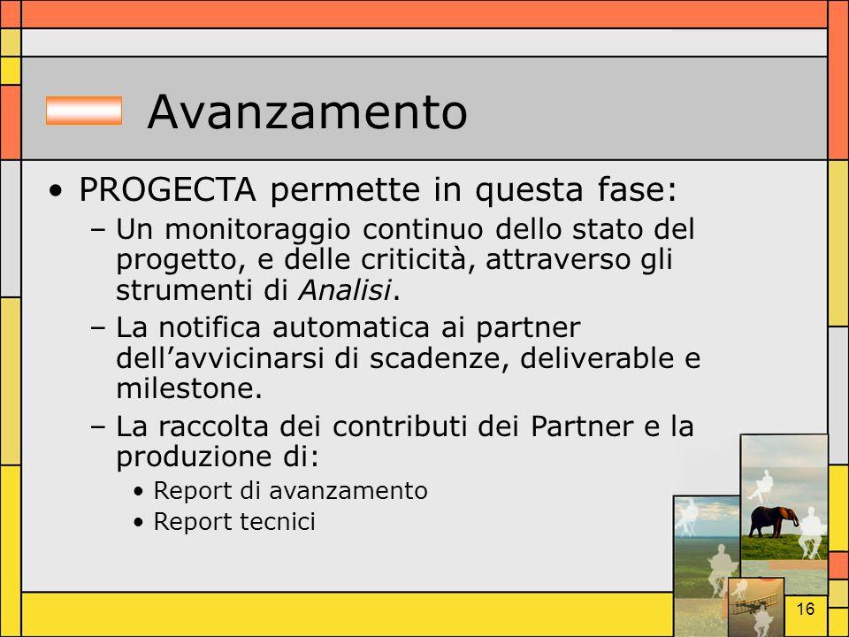 16 Avanzamento PROGECTA permette in questa fase: –Un monitoraggio continuo dello stato del progetto, e delle criticità, attraverso gli strumenti di An