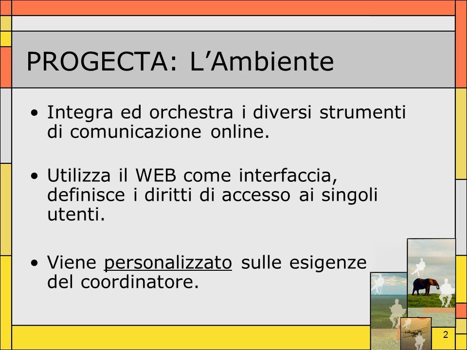 2 PROGECTA: LAmbiente Integra ed orchestra i diversi strumenti di comunicazione online. Utilizza il WEB come interfaccia, definisce i diritti di acces