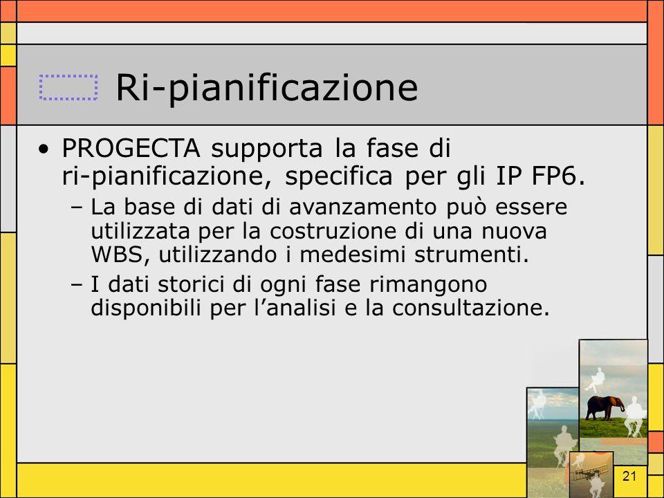 21 Ri-pianificazione PROGECTA supporta la fase di ri-pianificazione, specifica per gli IP FP6. –La base di dati di avanzamento può essere utilizzata p
